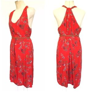 Red Floral Print Twist Back Shift Dress, XXL :124